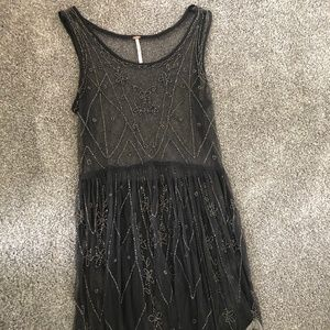 Free People Beaded  Mini Dress